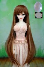 "BJD Doll Hair Wig 6-7"" 1/6 Golden Brown Long Cap SD DZ DOD MSD Soom Volks HUAL#"