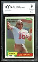 1981 Topps #216 Joe Montana Rookie Card BGS BCCG 9 Near Mint+