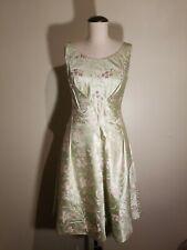 GLAMOUR Girl Vintage CALLA 1960s Floral SILK SATIN Beaded Bodice Stunning S