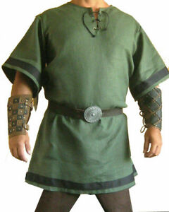 Renaissance Green Color Medieval Viking Tunic For Armor Theater Half
