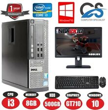 GAMING DELL BUNDLE DESKTOP PC FULL SET COMPUTER SYSTEM INTEL i3 8GB 500GB GT710