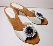 MINT Ladies NINA Peep Toe MULES Sandals WHITE 6 1/2 US 36 1/2 EU Worn 1X 4 Shoot