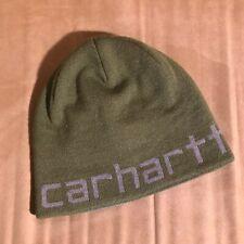 NEW Carhartt men's toboggan beanie knit hat reversible green grey