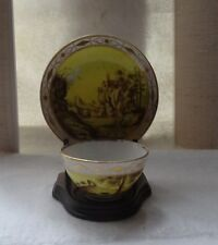 ANTIQUE RARE SOPHISTICATED CONTINENTAL BUCOLIC SCENE IN PUCE CUP AND SAUCER SET