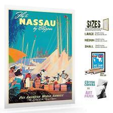 NASSAU BAHAMAS VINTAGE TRAVEL POSTER