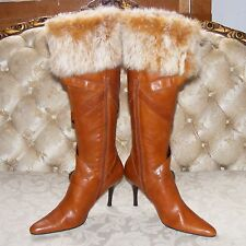 NINE WEST FASHION BOOTS, Camel Knee-High Faux Fur Trim Stacked High Heels, 8.5 M
