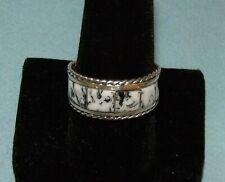 New ListingNative American Sterling Silver & White Buffalo Turquoise Ring; Sz 11; 3/8 W