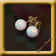 Oktober Geburtsstein Massiv 9 Kt Gold 375 Ohrstecker mit 5mm Weiß Opal