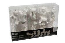 10 Stück Engel Figuren zum Hängen Schutzengel Weiss Keramik Christbaumschmuck