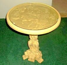 VINTAGE CARVED WHITE RESIN BONE CELLULOID ORIENTAL TABLE