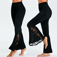 Womens High Waist Leggings Long Wide Leg Casual Lace Panel Flare Pants Trousers