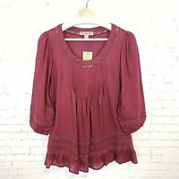 Nine West Vintage America Womens Top Size XS Maroon Peasant Blouse NEW