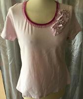 Stylishes DESIGNER Damen T-Shirt Gr M Rosa toller Ausschnitt aufgenähte Blume