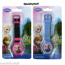 2 NEW DISNEY FROZEN LCD WATCH CHILDRENS TIME PIECE ELSA ANNA ASSORTED (MF)