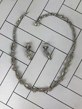 Vintage BOGOFF Necklace & Earrings Set Wedding Formal Silver Tone Costume