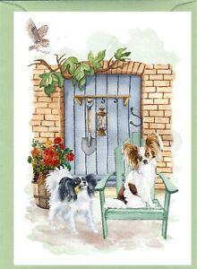 """Papillon Dog A6 (6"""" x 4"""") Blank Card """"Secret Garden"""" Design By Starprint"""