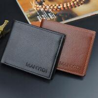 Men's Leather Trifold ID Card Holder Slim Purse Wallet Billfold Handbag Clutch