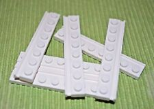 (5) 1x8 White Plate Bricks with Edge ~ New Lego Parts ~ Space