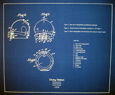 "German Diving Helmet & Suit 1915 Design Blueprint Plans 20""x23""  2 pages (189)"