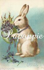 Easter Fabric Block Vintage Postcard  Easter Bunny