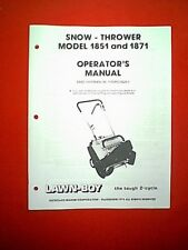 LAWN BOY 2 CYCLE SNOWTHROWER SNOWBLOWER MODELS 1851 & 1871 OWNER / PARTS MANUAL