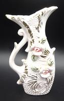 Vintage Porcelain Bud Vase Gold Details Pink Roses Made in Japan Mid Century