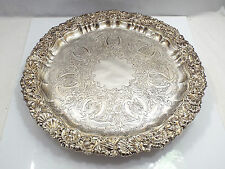 Antique Ornate Solid Sterling Silver Salver Waiter Tray Wm Hutton & Sons 1906