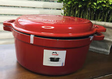 26 cm Wide Red Staub Cast Iron Pot. With Grill. 3in1 Cherry Red. Imperfect