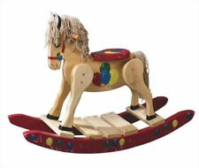 Childs Deluxe Wooden Rocking Horse Amish Built Solid Poplar Painted Wood Toy!