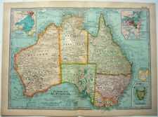 Original 1911 Map of Australia by The Century Company. Antique