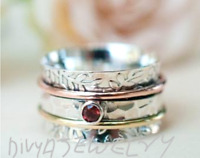 Garnet Stone Solid 925 Sterling Silver Spinner Ring Meditation Handmade Ring
