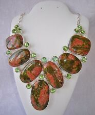 ARTISAN FACETED NATURAL UNAKITE & GREEN AMETHYST 925 SILVER  NECKLACE