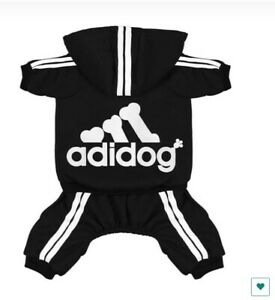 ADIDOG PET CLOTHES SWEATER HOODLE JEACKET 4 LEGS OUTFIT JUMPSIUIT (BLACK)<4.5LBS