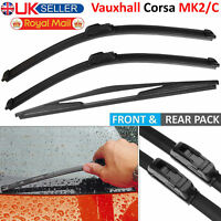 3Pcs Front & Rear Windscreen Flat Aero Wiper Blades Set For Vauxhall Corsa C MK2
