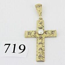 Original Theodor Fahrner Kreuz Anhänger TF 925 Silber vergoldet Perle & Markasit