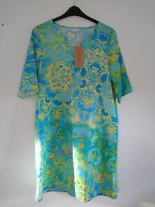 Tendency Aqua Green Floral Tunic Dress Size Large ref CL46