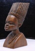Hand Carving Head Facial Figure African Woman Girl Detailed Hard Wood Sculpture