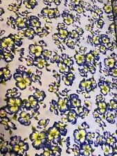 Isabella Purple & Yellow Pansies on Lavender cotton Fabric per yard  44""