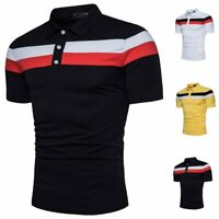 Fashion Men Polo Shirt Short Sleeve Polo Striped Cotton T-Shirt Classic Design