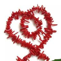 """Deep Red Bamboo Coral Branch Loose Beads Strand 16"""" for Jewelry Making DIY"""
