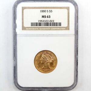 1880 S $5 Gold Liberty - NGC MS63 -- Half Eagle - Original Luster - Variety 1 -