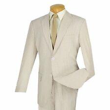 VINCI Men's Tan Striped Seersucker 2 Button Classic Fit Suit 100% Cotton NEW