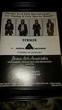 Striker Arista Records Signing Rare Original Promo Poster Ad Framed!