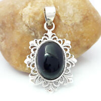 Solid 925 Sterling Silver Black Onyx Gemstone Pendant Necklace Jewelry