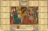 Florence, ITALY - 1907 - Italian Calendar  - EMBOSSED & GILDED - nativity