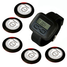 SINGCALL.Wireless Calling Systems,5 Slim One Button Bells and 1 Wrist Watch