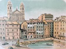 Benjamin Sarraillon (1902-1989) Corse Bastia Vieux-Port lithographie France