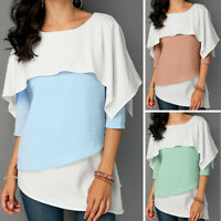 Fashion Ladies Women Casual Three Quarter Sleeve Overlay Embellished Tops Blouse