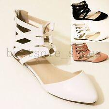 LADIES WOMEN BACK ZIP SANDALS LACE UP ANKLE STRAPPY FLAT SUMMER BEACH SHOES SIZE