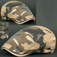 Newsboy Beret Flat Cap Hat DMO BROWN Cabbie Gatsby Camo Hunting Military Army